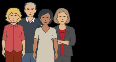 Illustration representing four members of the SECCA team.
